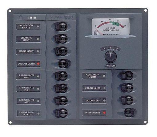 BEP 12v Dc Circuit Breaker Panel 12 Way Square A/log Meter (902-AM) BEP 12v Dc Circuit Breaker Panel 12 Way Square A/log Meter (902-AM) Thailand