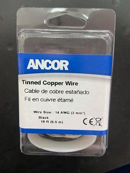 Tinned Copper Wire, 14 AWG (2mm2), Black - 18ft Tinned Copper Wire, 14 AWG (2mm2), Black - 18ft Thailand