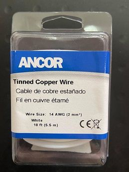 Tinned Copper Wire, 14 AWG (2mm2), White - 18ft Tinned Copper Wire, 14 AWG (2mm2), White - 18ft Thailand