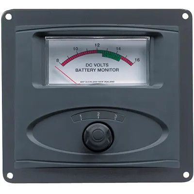 3 Input Panel Mounted Analog 12V Battery Condition Meter  (scale 8-16V DC range) 3 Input Panel Mounted Analog 12V Battery Condition Meter  (scale 8-16V DC range) Thailand