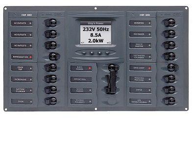AC Circuit Breaker Panel with Digital Meters, 16SP 2DP AC230V ACSM Stainless Steel Horizontal AC Circuit Breaker Panel with Digital Meters, 16SP 2DP AC230V ACSM Stainless Steel Horizontal Thailand