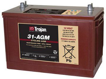 Trojan 31-AGM 12 Volt, 100 AH Deep Cycle AGM Battery Trojan 31-AGM 12 Volt, 100 AH Deep Cycle AGM Battery Thailand